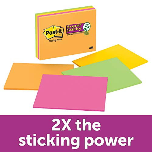 Post-it Super Sticky Notes, Bright Neons, Call out Important Information, Recyclable, 6 in. x 8 in, 4 Pads/Pack, 45 Sheets/Pad (6845-SSP) ()