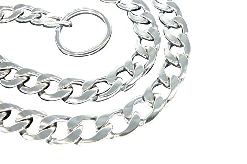 Image of Vcalabashor Chain Dog Collar / Choke Training Slip Collars / Chormed Steel Command Obedience Collar / Silver 16