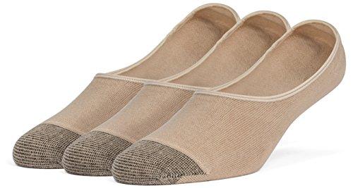 Trainer Liner Socks - Galiva Women's Cotton Lightweight No Show Liner Socks - 3 Pairs, Medium, Nude Beige