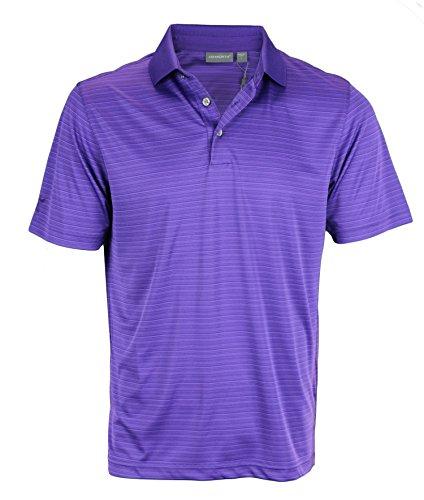 Ashworth Men's Performance Interlock Shadow Stripe Golf Polo (Small, Blue Violet)