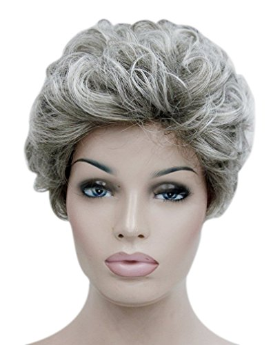 (Kalyss Pixie Cut Cute Gray Short Curly Wavy Synthetic Hair Wigs for Women Natural Looking Daily Wear Hair Replacement Wigs or Costume Hairpiece)