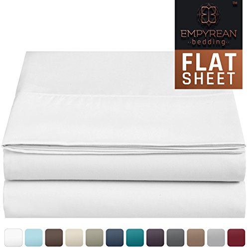Premium Flat Sheet - Luxurious & Soft Full Size Linen Flat White Sheets - Hotel Quality Brushed Microfiber (Single) Flat Bed Sheet Hypoallergenic Bedroom Essentials By Empyrean Bedding