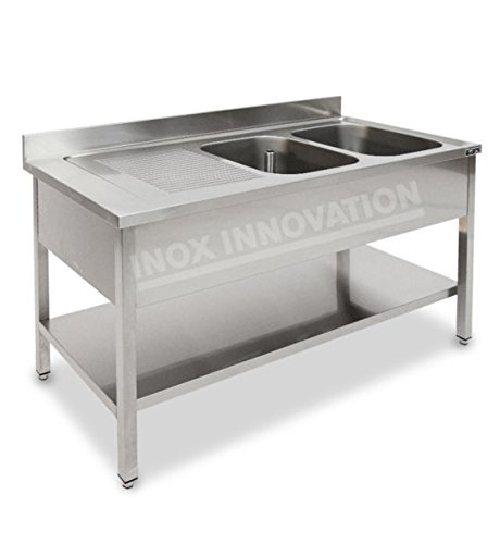 Mobili Cucina Professionale Acciaio.Lavello Professionale 1600x600 A Due Vasche Sgocciolatoio