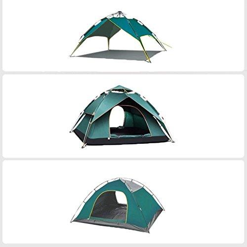 報告書クロス著名なフルオートテントアウトドア3-4人の肥えた雨の防止キャンプ野生のキャンプ (色 : 濃い緑色)