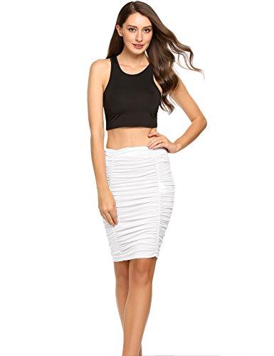 (Zeagoo Women's Asymmetrical High Waist Band Bodycon Midi Pencil Skirt, Type3-white, Medium)