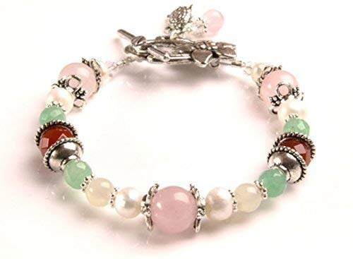Juno Fertility and Pregnancy Bracelet featuring Gemstones Rose Quartz, Moonstone, Green Aventurine, Carnelian, Freshwater Pearls.