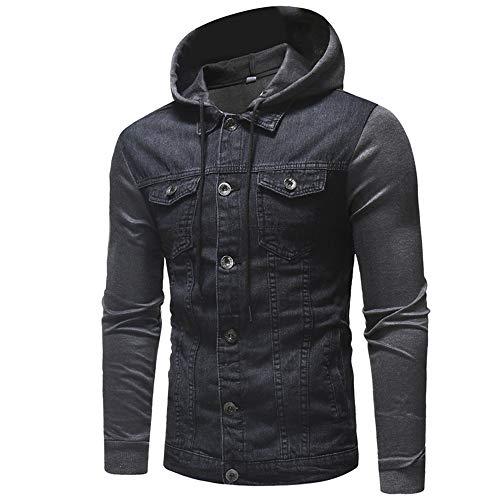 Huateng Men's Denim Jacket Transition Jacket Hoodie Jacket Dark Gray