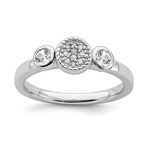 925 Sterling Silver Dbl Round White Topaz Diamond Band Ring Size 10.00 Stone Stackable Gemstone Birthstone April Fine Jewelry Gifts For Women For Her