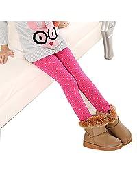 U0U Girls Warm Winter Fleece Lined Leggings Dot Pattern Tight Stretch Pants