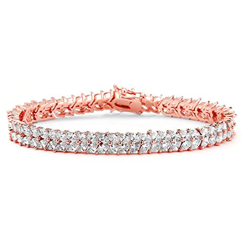 Bracelets Tennis Gold Gemstone (Mariell Cubic Zirconia Rose Gold Plated Tennis Bracelet Women - Bridal, Wedding Everyday Jewelry)