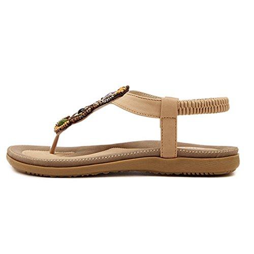 Cybling Mode Slip Op Bohemien Flats Sandalen Voor Vrouwen Strand Riem Schoenen Abrikoos