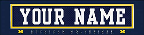 Michigan Wolverines College Jersey Nameplate Wall Print, Personalized Gift, Boy's Room Decor 6x22 Unframed Poster