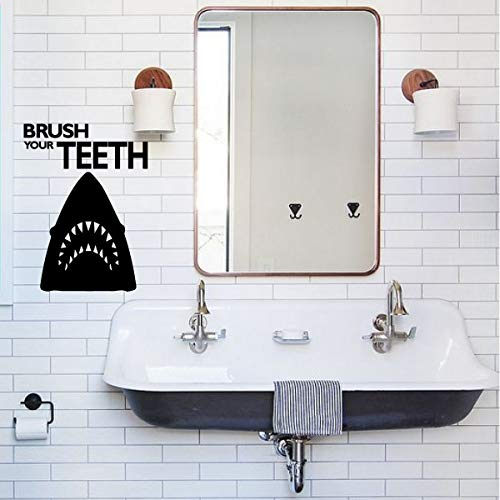 (Great White Shark Wall Decal - Brush Your Teeth - Silhouette Vinyl Sticker Decor for Boys - Kids Bathroom or Restroom Decoration - Dental Office Fun Gift)