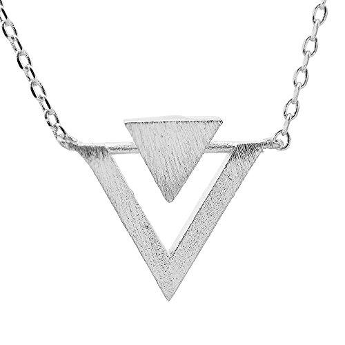 SpinningDaisy Handmade Brushed Triangle Necklace