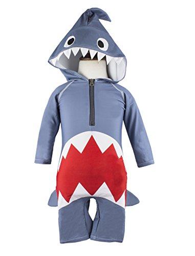 Little Boys Shark Costume Hooded Swimsuit