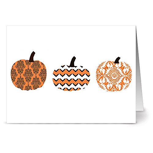 24 Holiday Note Cards - Plump Patterned Pumpkins - Blank Cards - Tangerine Zest Envelopes Included