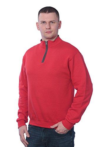 Fruit of the Loom Men's 1/4 Zip Fleece Sweatshirt, Fiery Red/Charcoal Grey, (0.25 Zippers Fleece)