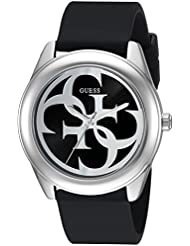GUESS Womens Stainless Steel Silicone Logo Watch, Color: Black (Model: U0911L8)