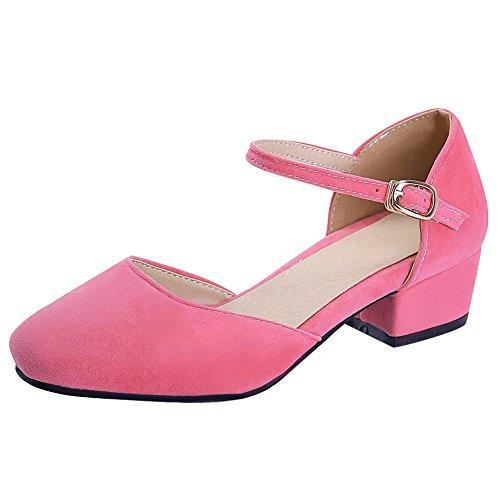 Mee Shoes Sweet Nubuck Low-heel Block-heel Closed-toe Solid Color Court Shoes Pink