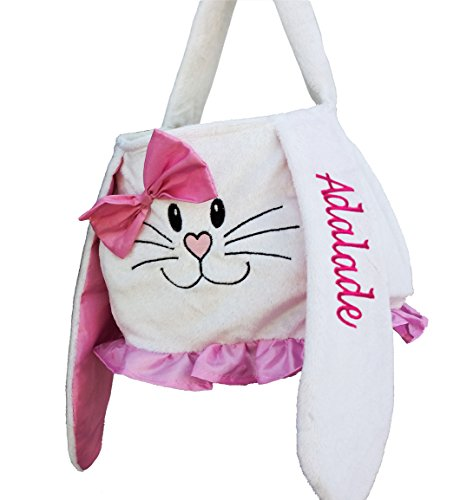 (Personalized Easter Basket (Pink White) Plush Easter Basket Tote Bunny Bucket Embroidered with Kids)