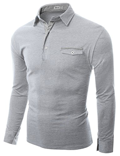 Doublju Mens One Pocket Button Inner Line Colored Detailed Collar Polor Shirts GRAY (US-2XL)