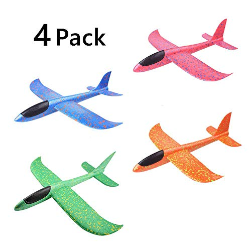 Ytzada Airplane Toy Glider Plane Set for Boys, 4pcs Manual Throwing Model Foam Aircraft Air Plane Outdoor Sports Flying Toy for Kids as Gift
