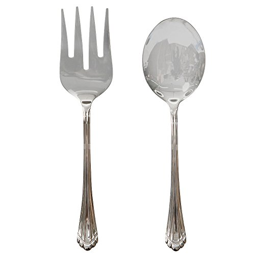 Italian Collection 'Tuscana Silver' 2-Pc Premium Silverware Flatware Serving Set, 18/10 Stainless Steel Silver Plated Dining Set