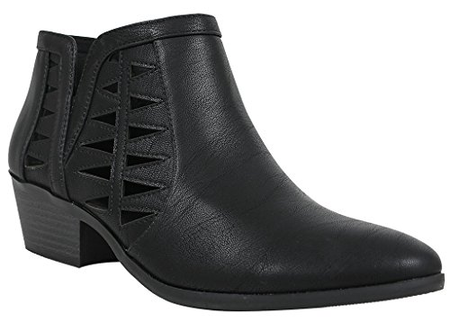 (SODA Women's Perforated Cut Out Stacked Block Heel Ankle Booties (8 M US, Black New) )