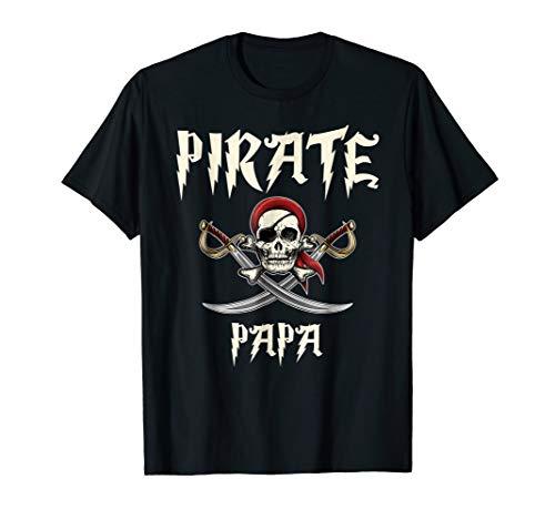 Pirate Papa Funny Skull Adult Gift Halloween Tshirt