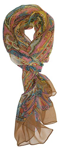 Ted and Jack - Pretty Chiffon Silk Blend Graphic Scarf (Desert Sand Print)