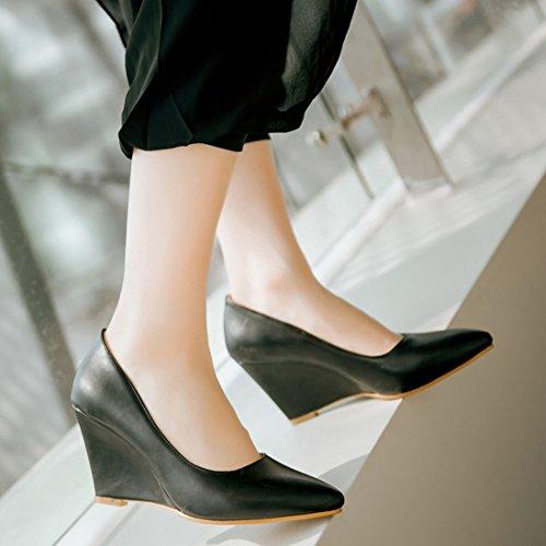 8d141a7f64ecfd ... YE Damen Keilabsatz Pumps Spitze High Heels Geschlossen mit 8cm Absatz  Elegant Schuhe Schwarz