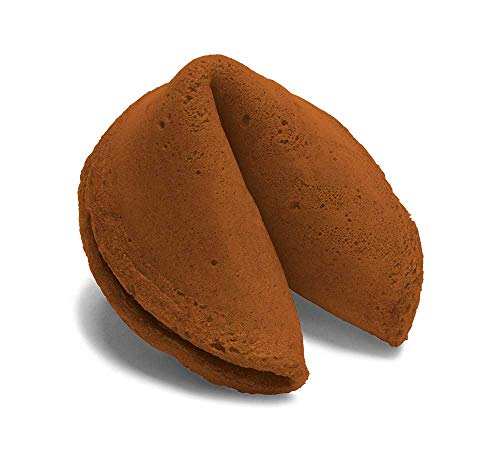 50 Chocolate Colored Fortune Cookies - Individually Wrapped - Standard Messages - (50 Cookies)