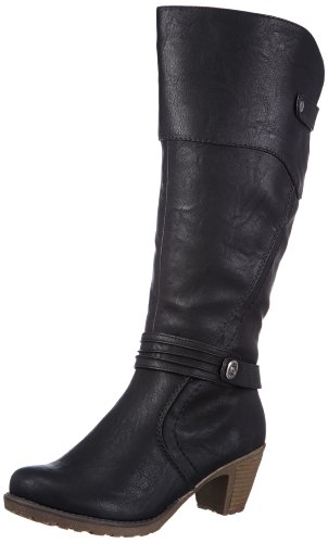 mujer sintético 00 Rieker Schwarz 91552 Botines de schwarz negro material CwnnFqXR6