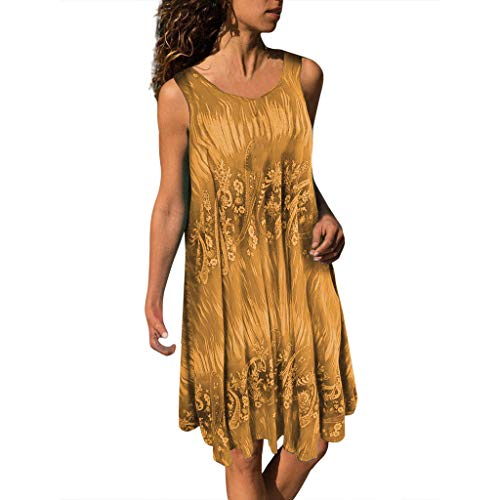 Swarovski T-shirt Tank Top - Tantisy ♣↭♣ Women's Plus Size Summer Casual Sleeveless Swing Tunic Floral Vest Ladies Crew Neck Loose Flowy Tunic Tank Tops Khaki