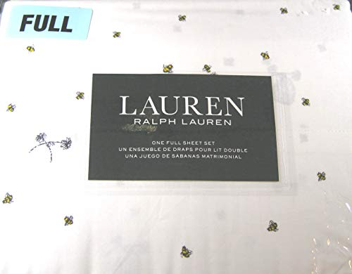 (Lauren 4 Piece Full Size Sheet Set Bumblebees,Flowers and Hives 100% Cotton)