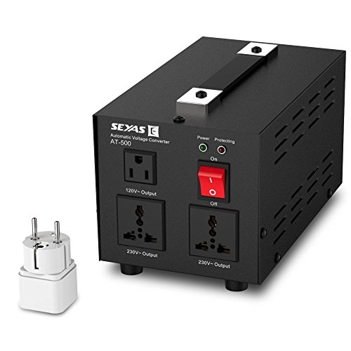 SEYAS 500W Auto Step Up & Step Down Voltage Transformer Converter , 110-120 to 220-240 Volts, Soft Start & Full Load, 7x24hrs Continous Run, U.S. Patent No. US9225259 B2