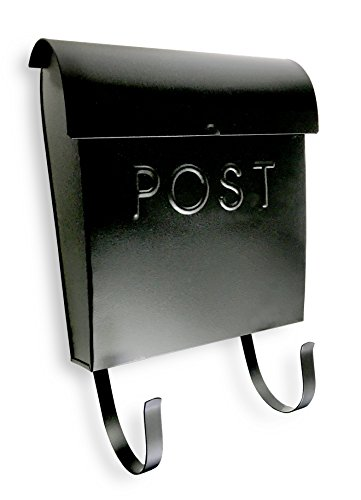 NACH MB-44765 Wall Mounted Euro Post Box Mailbox with Newspaper Holder, Powder Coated Finish, 12 x 11.2 x 4.5 Inch, Black