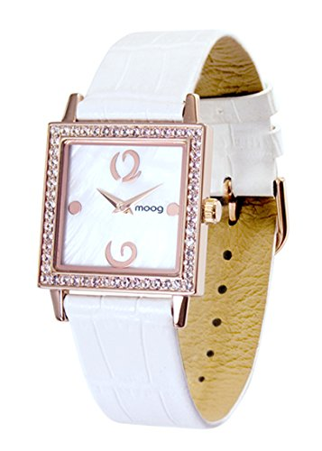 Moog Paris Twisted Women's Watch with White Mother of Pearl Dial, White Genuine Leather Strap & Swarovski Elements - M45602-007