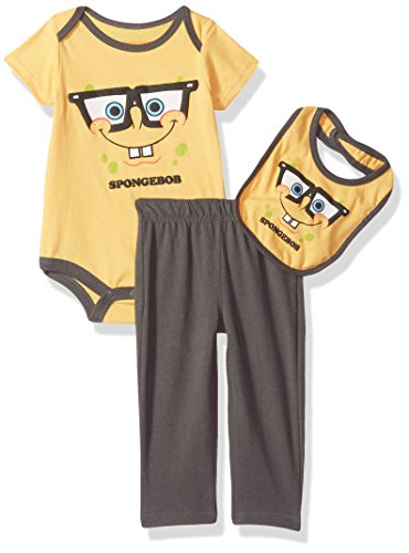 CAN Nickelodeon Baby -Boys Newborn Spongebob 3 Piece Creeper Bib Set, Spectra Yellow, 6-9 ()