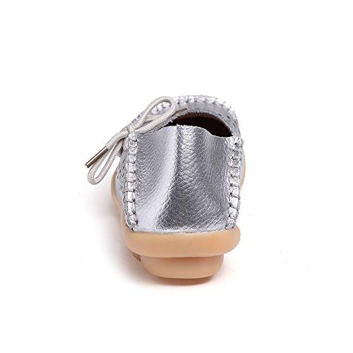 Blivener Casual - Mocasines de Material Sintético para mujer plata