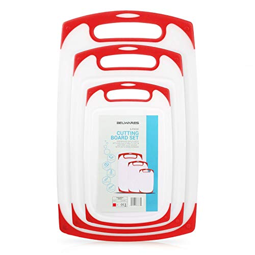 Plastic Cutting Boards Set of 3, Dishwasher Safe Reversible Cutting Boards with Non-Slip Feet & Deep Drip Juice Groove for Chopping Foods, BPA Free, FDA Approved Materials & Eco Friendly (Red)