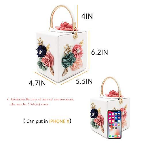 Milisente Women Clutches Flower Clutch Bag Box Clutch Purse Evening Handbag (White) by Milisente (Image #2)