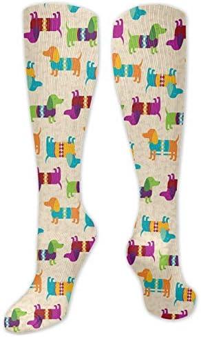 Sokken Dames Leuke teckel Crazy Novelty Funky Sokken Lange Kalf Sok met Uniek Opvallend Ontwerp Rijsokken Vrouwen