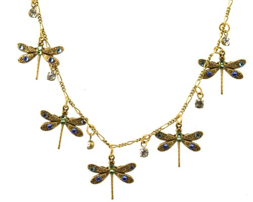 Anne Koplik Antique Gold Plated 5 Small Dragonflies with Drops Necklace with Swarovski Elements