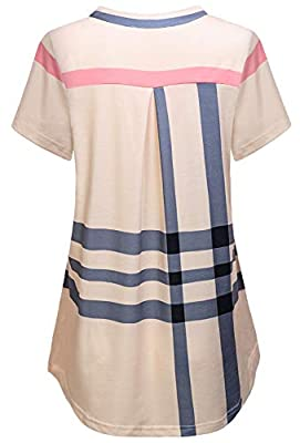 JCZHWQU Women's Zip Up V Neck 3/4 Rolled Sleeve Casual Plaid Tunic Shirt