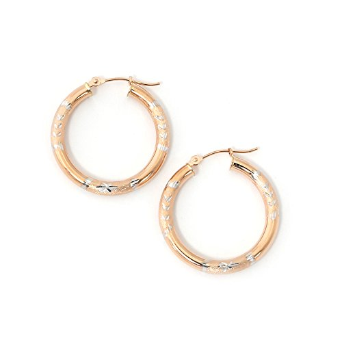 (14k Rose and White Gold Two-Tone 3mm Half Diamond Cut Hoop Earrings, 1