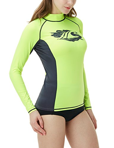 TSLA Women's UPF 50+ Slim-Fit Long Sleeve Athletic Rashguard, Basic Print(fsr26) - Neon Yellow & Charcoal, X-Large.