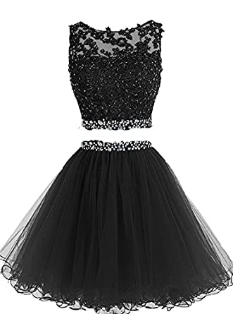 Pettus Women's Two Pieces Lace Bodice Beaded Short Prom