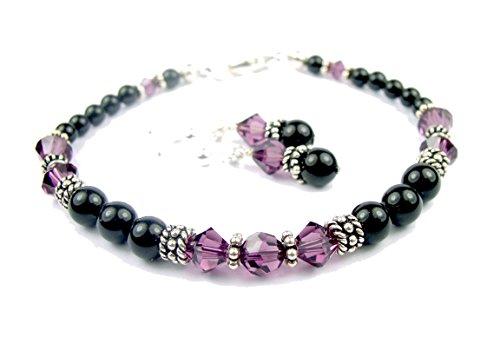 Bracelet Rhodolite Amethyst (DAMALI Black Beaded Bracelet & Earring Set, Faux Pearl and Crystal Bracelet, Handmade Amethyst Swarovski Crystal February Birthstone Bracelet)
