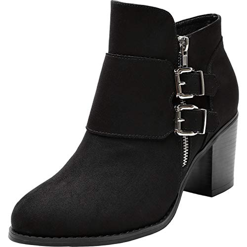 (Women's Wide Width Ankle Boots - Low Chunky Heel Foldover Buckle Zipper Martin Boots,Warm Ankle Booties. (8.5 WW US, Black))